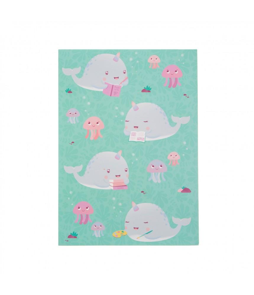 Notitieboek schetsboek a4 narwal narwhal walvis