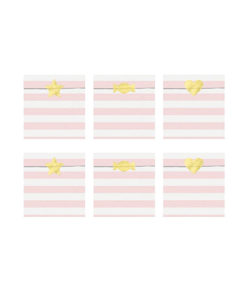 Papieren zakjes set met stickers lichtroze