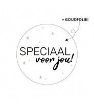 Stickers rond wit goudfolie speciaal voor jou