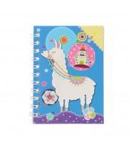 Mini notitieboekje alpaca lama blauw kasteel