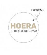 Sticker rond wit hoera jij hebt je diploma