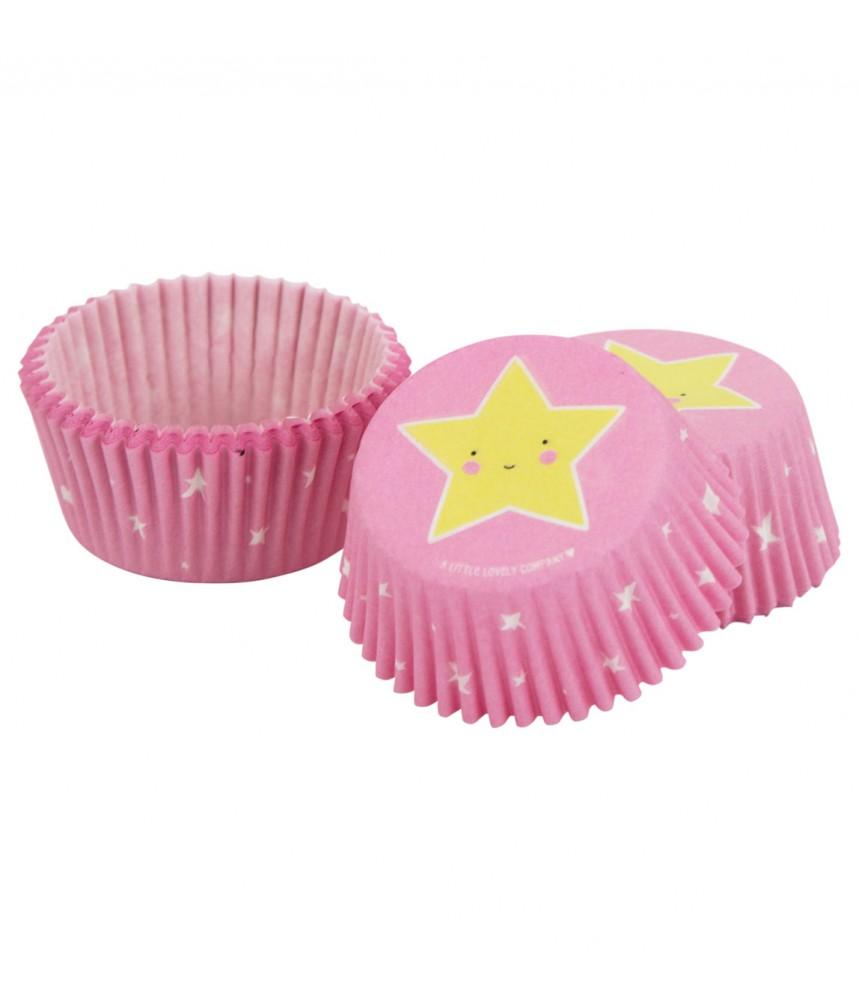 Cupcake vormpjes ster roze