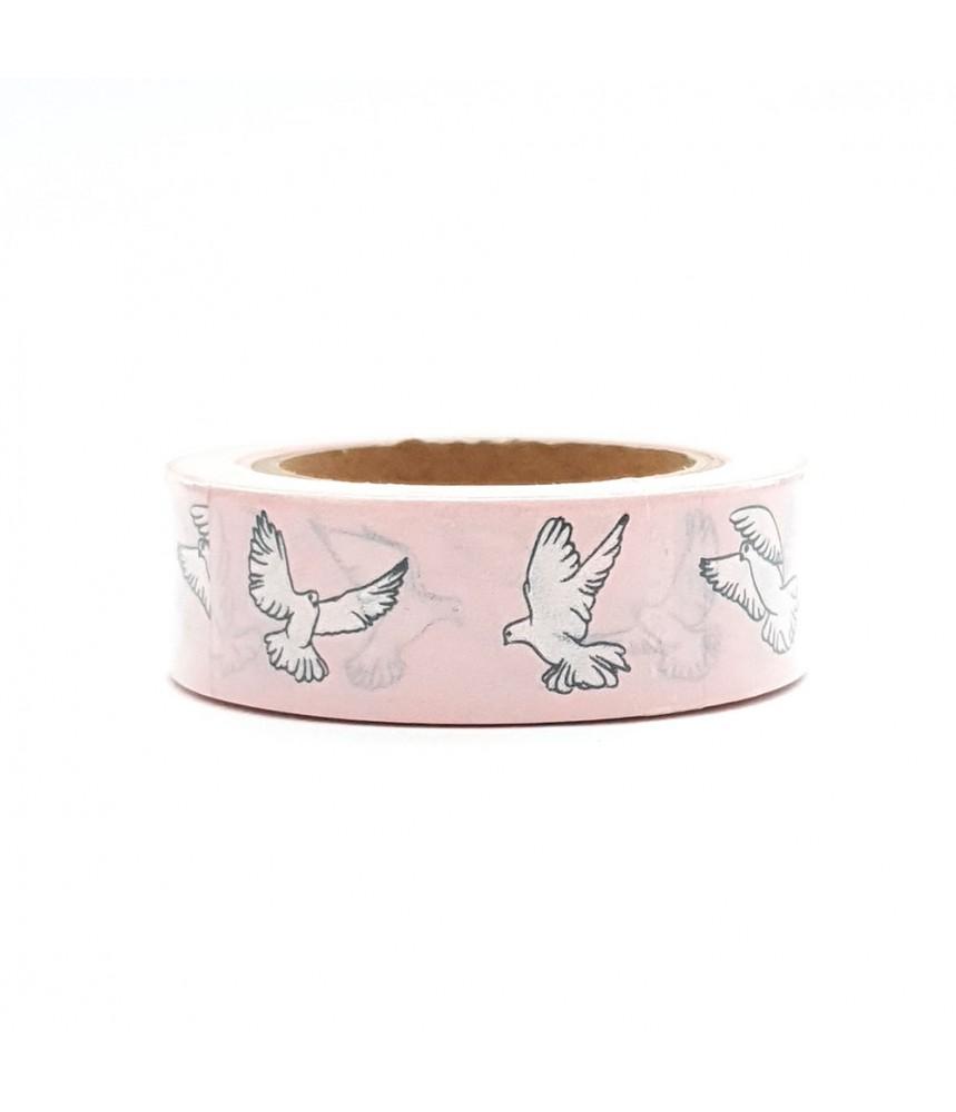 Washi tape roze witte vogels