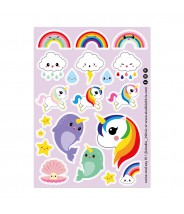 Stickervel studio inktvis unicorn narwhal