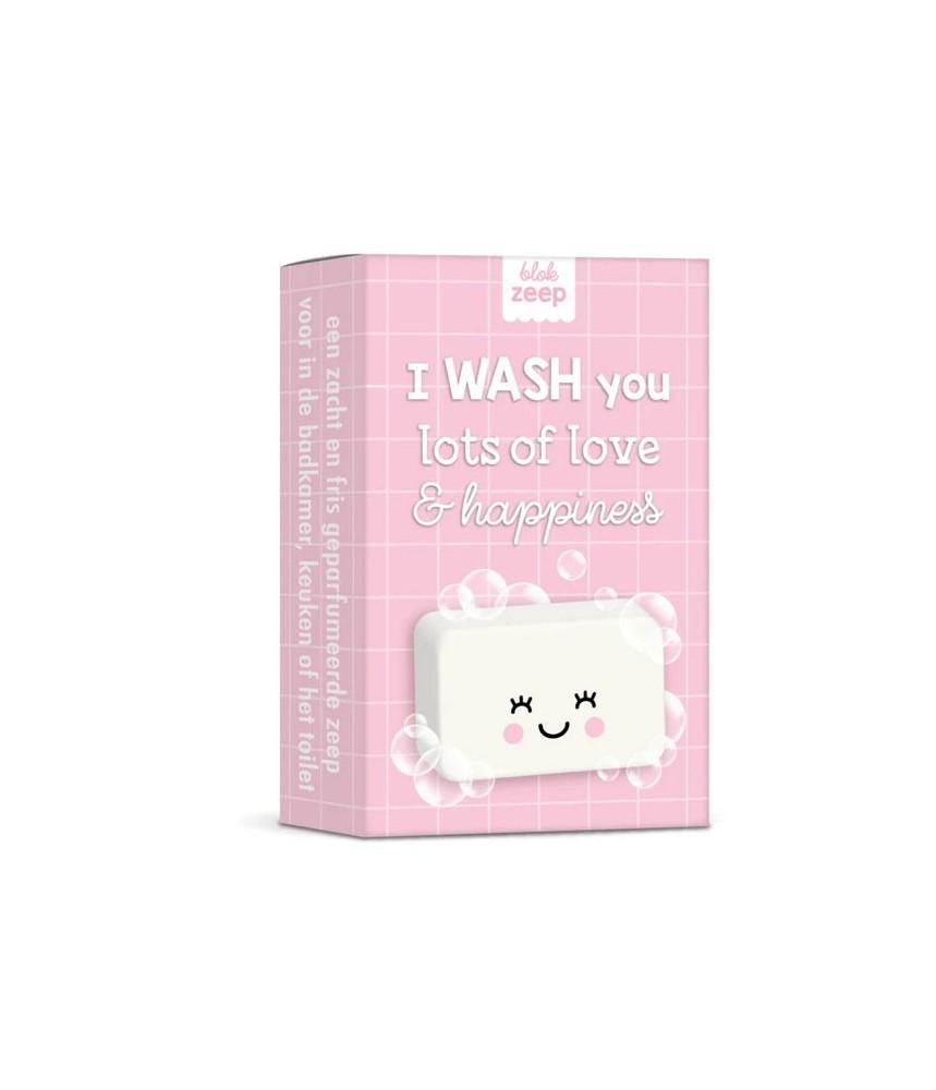 Zeepje WASH you lots of love & happiness (roze)