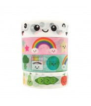 Washi tape set kawaii Live Life Happy (4 stuks)