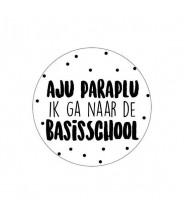 Sticker rond aju paraplu bassischool afscheid