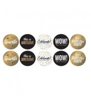 Sticker rond party wit goud zwart