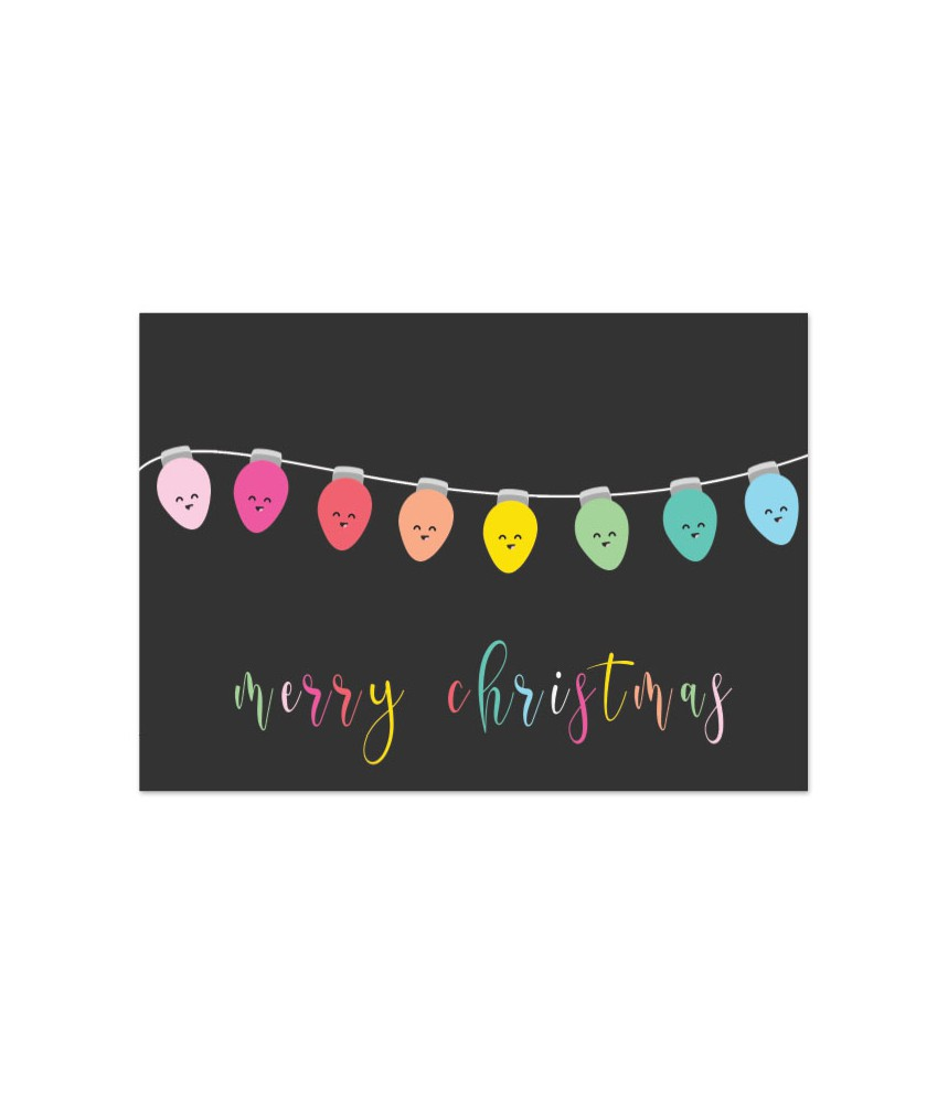 Kaart kerst lichtslinger merry christmas