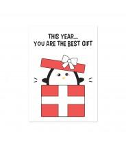 Kaart kerst best gift pinguin