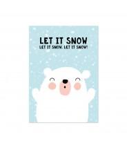 Kaart kerst ijsbeer let it snow