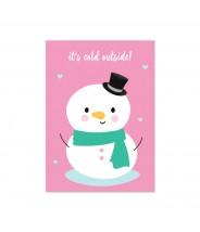 Kaart kerst sneeuwpop cold outside