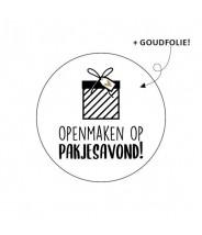 Stickers rond sinterklaas openmaken op pakjesavond