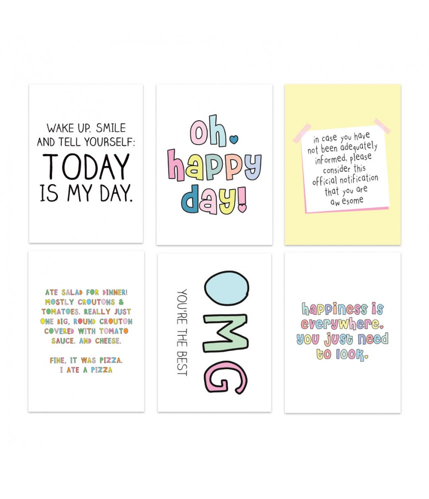 Kaartenset Live Life Happy - Positive quotes
