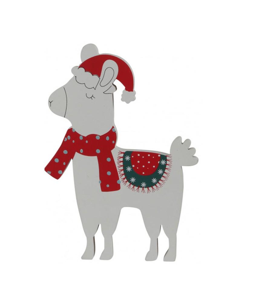 Decoratie kerst alpaca met sjaal