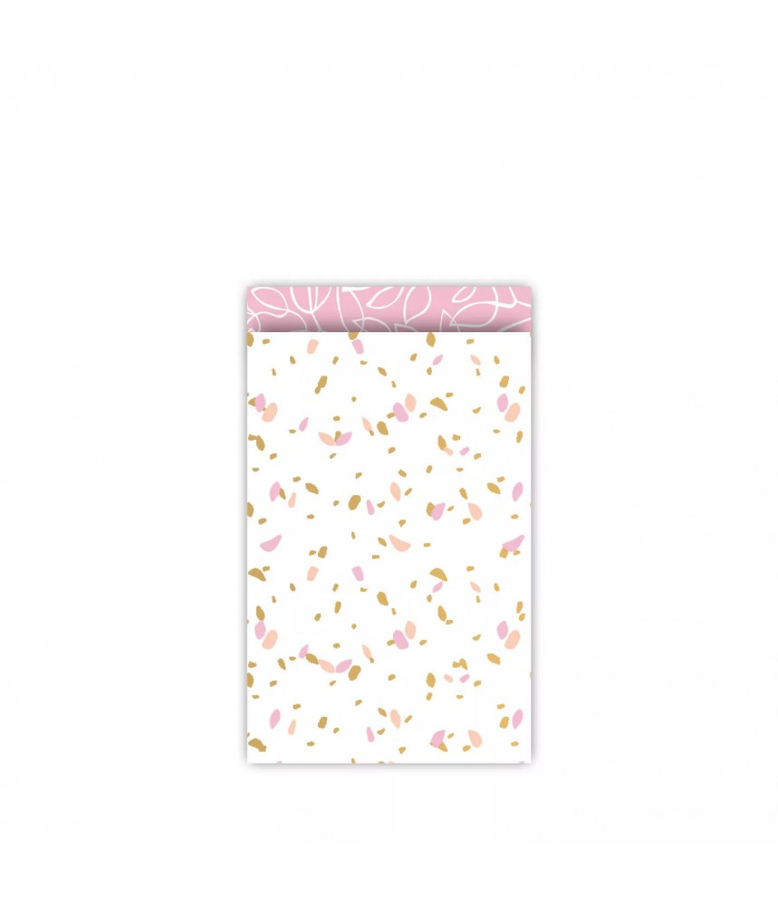 Papieren zakjes confetti dubbelzijdig roze