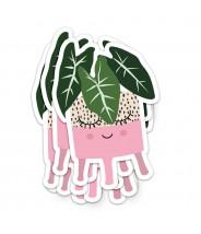 Sticker vinyl studio inktvis plantenpotje