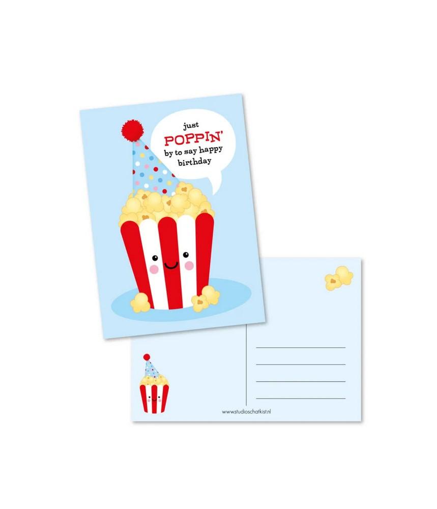 Kaart poppin birthday rood (studio schatkist)
