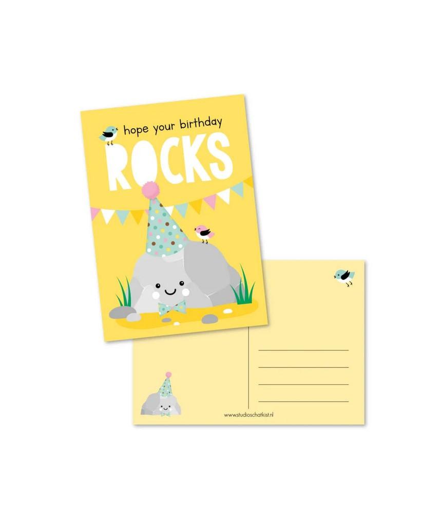 Kaart birthday rocks (studio schatkist)