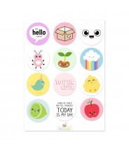 Stickervel spring cuteness Live Life Happy