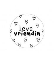 Stickers rond wit lieve vriendin