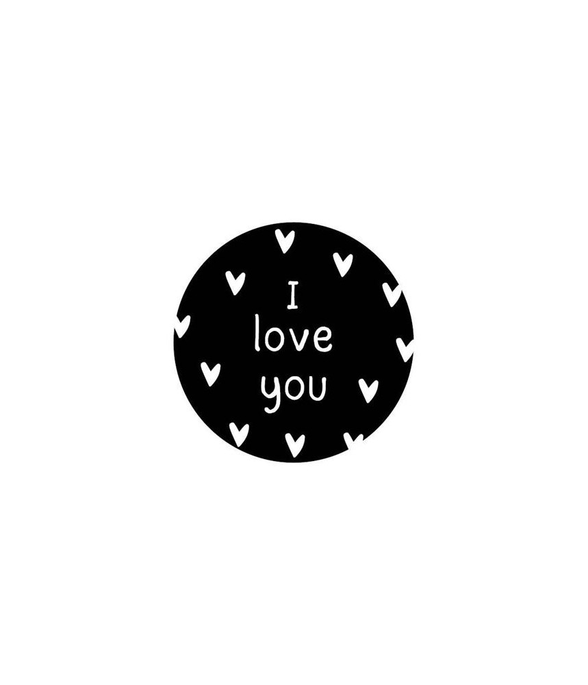 Stickers rond zwart i love you