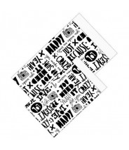 Papieren zakjes zwart wit teksten paperfuel