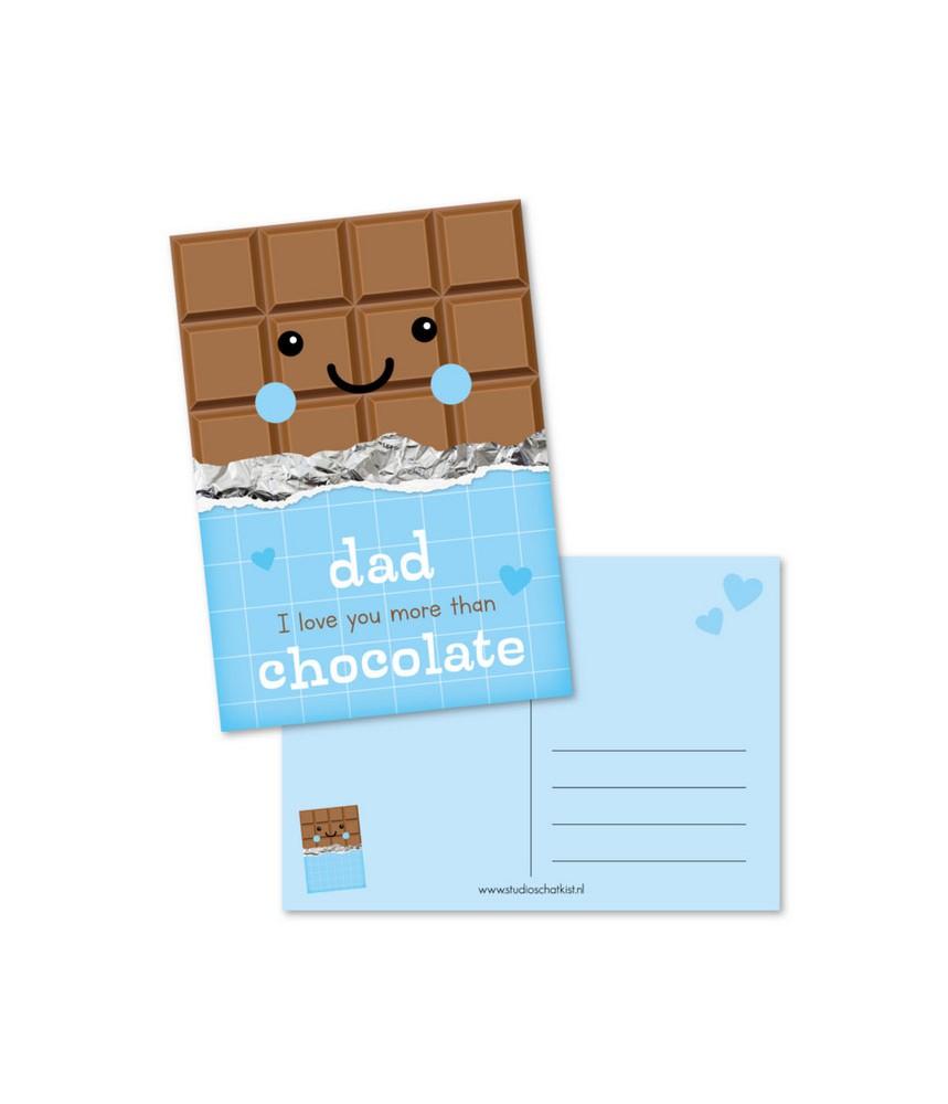 Kaart dad love you more than chocolate (studio schatkist)