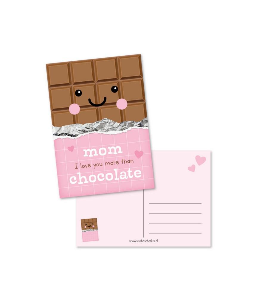 Kaart mom love you more than chocolate (studio schatkist)