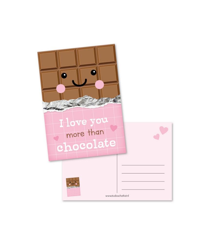 Kaart roze love you more than chocolate (studio schatkist)