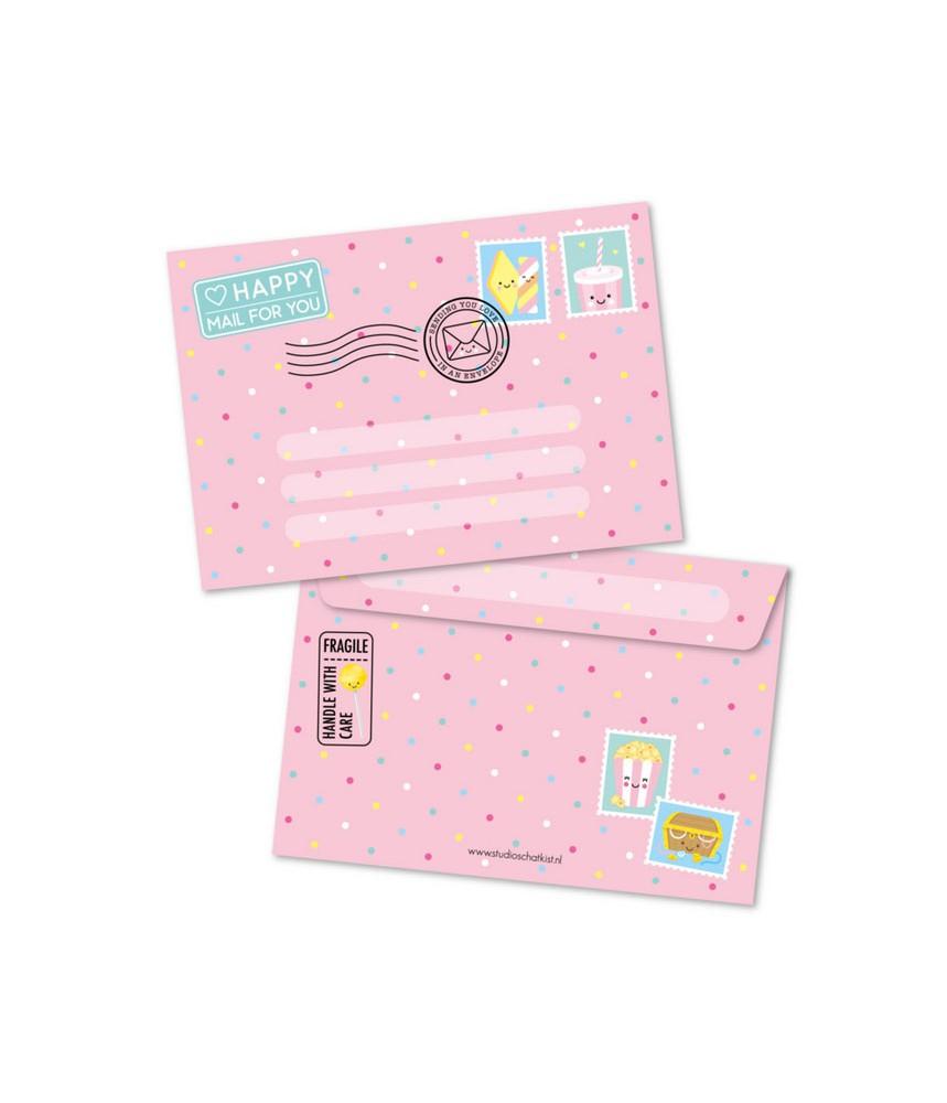 Envelop roze happy mail studio schatkist