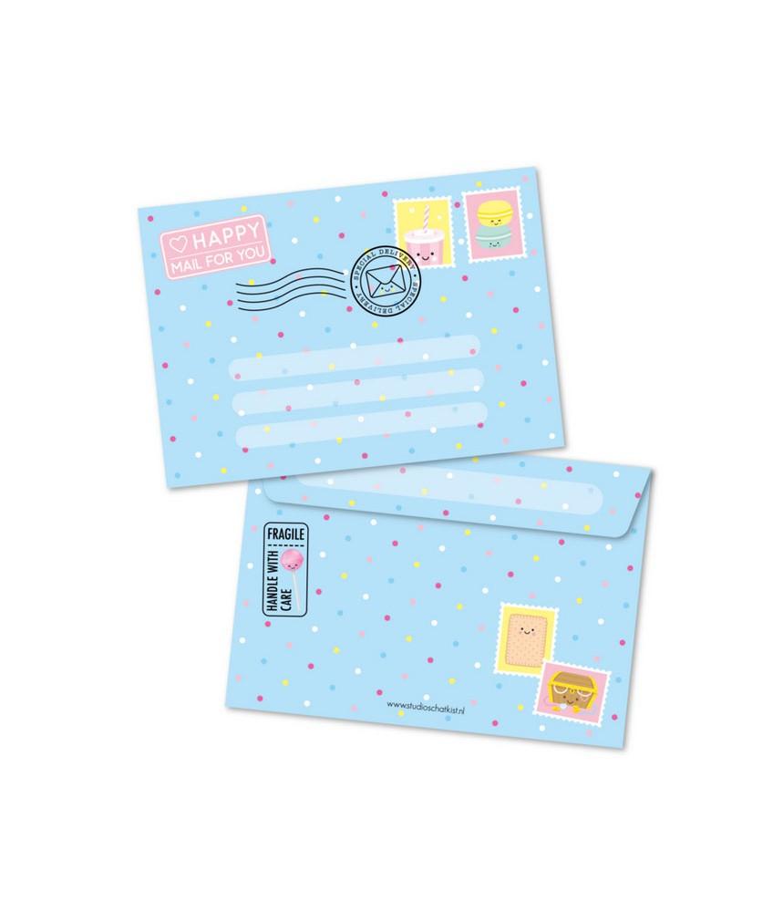 Envelop blauw happy mail studio schatkist