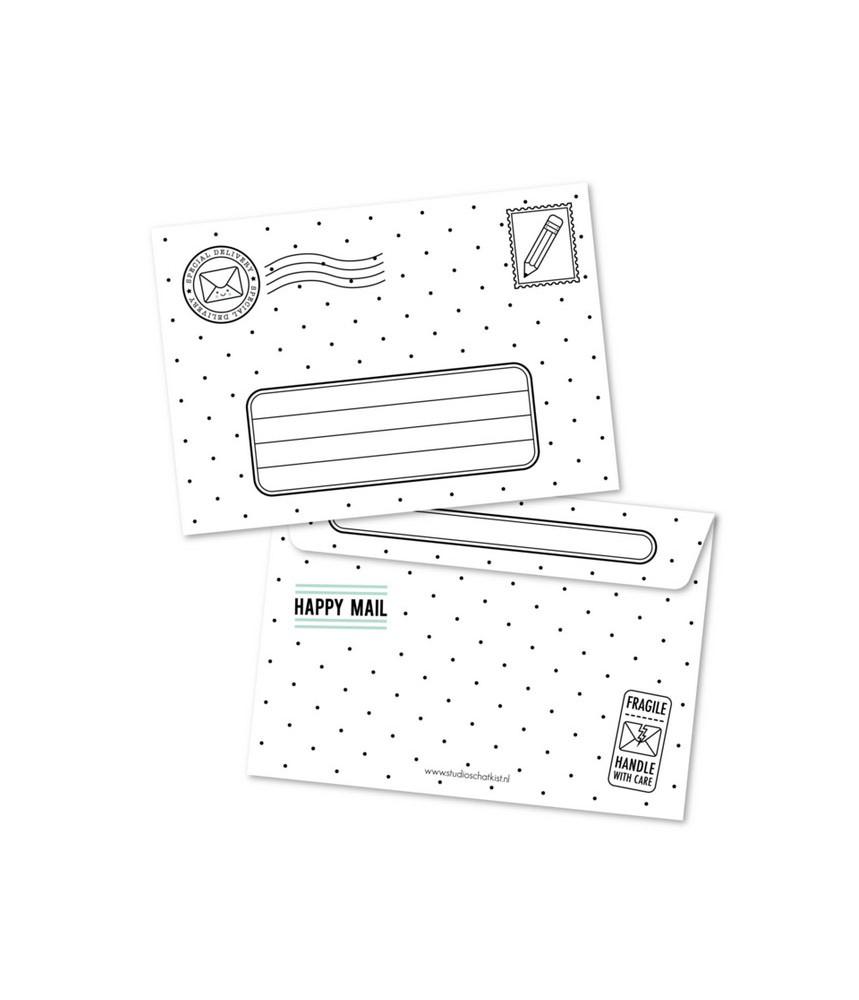 Envelop zwart wit studio schatkist