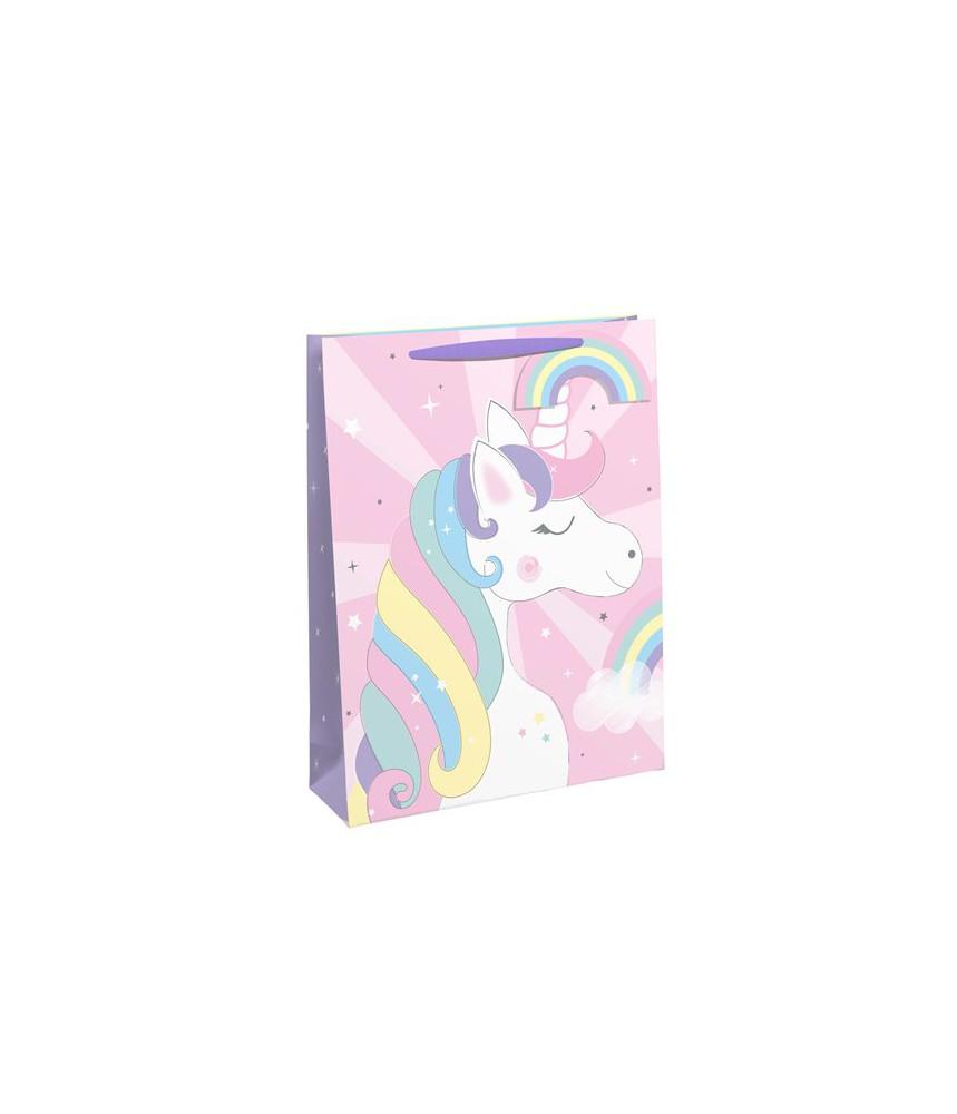 Cadeautasje eenhoorn paars roze medium