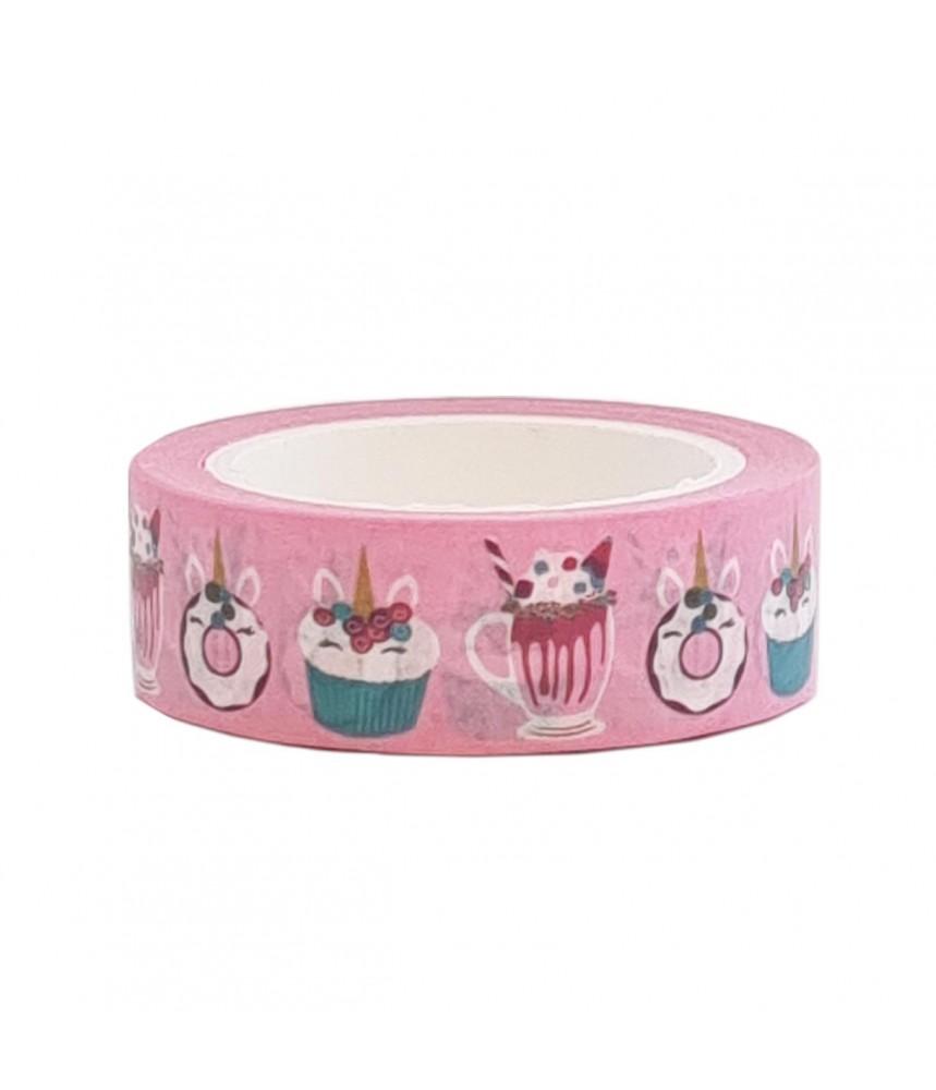 Washi tape roze eenhoorn donut cupcake ijs