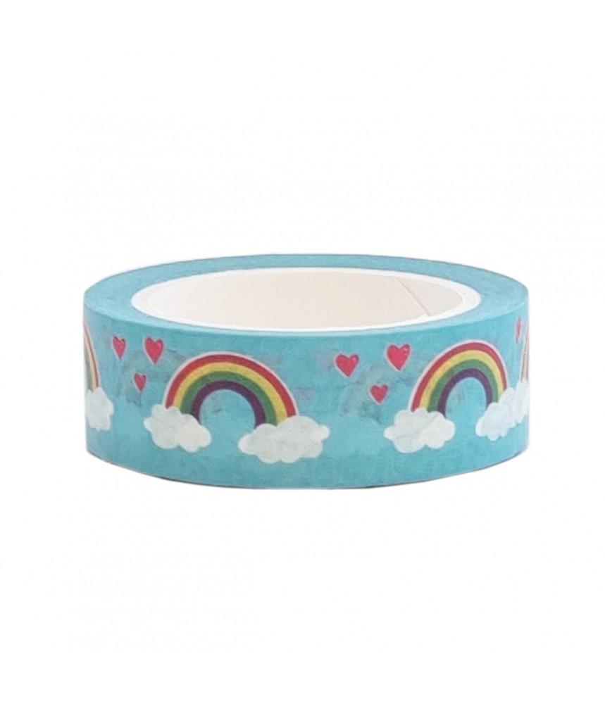 Washi tape blauw regenboog