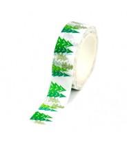 Washi tape kerst wit met groene boompjes