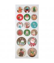 Stickervel kerstmis 16 stuks glitter
