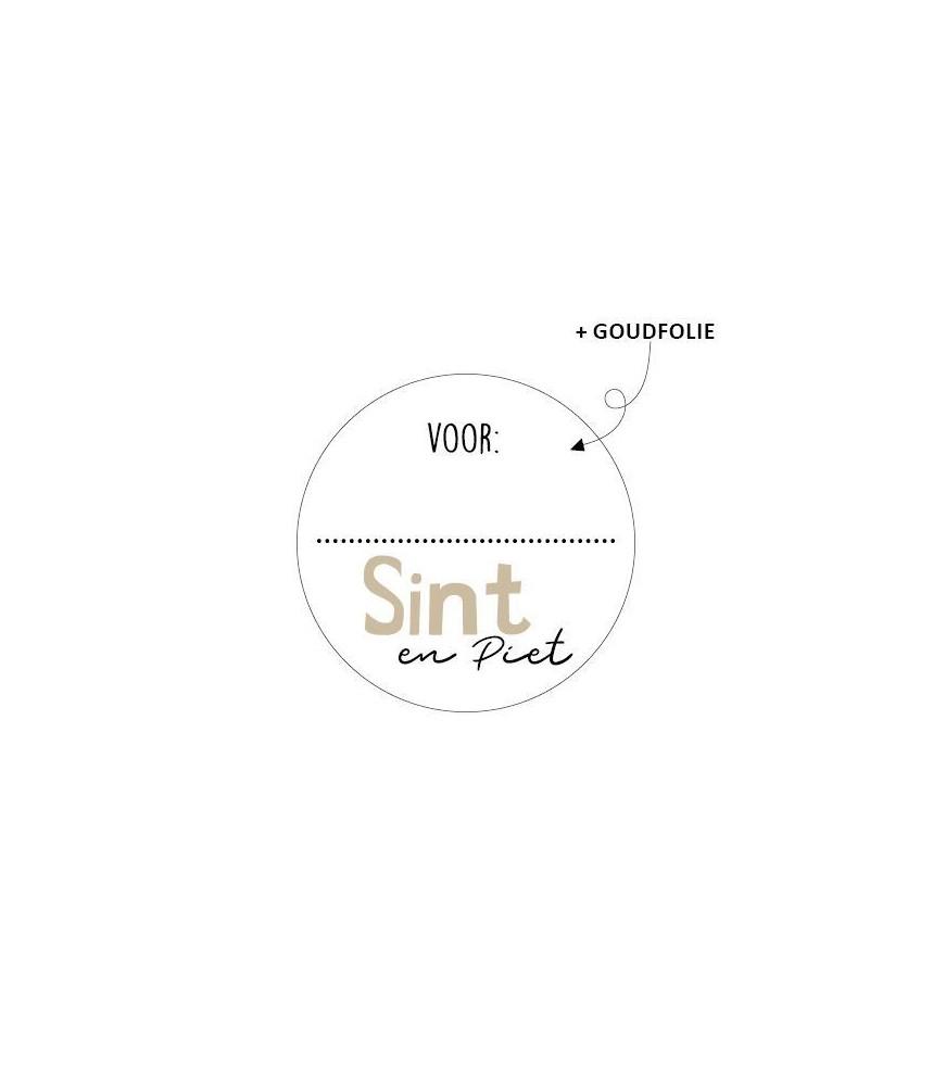 Stickers rond sinterklaas voor sint piet goudfolie