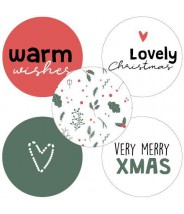 Stickers rond kerstmis mix rood groen