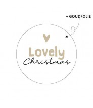 Stickers rond kerstmis lovely christmas goudfolie