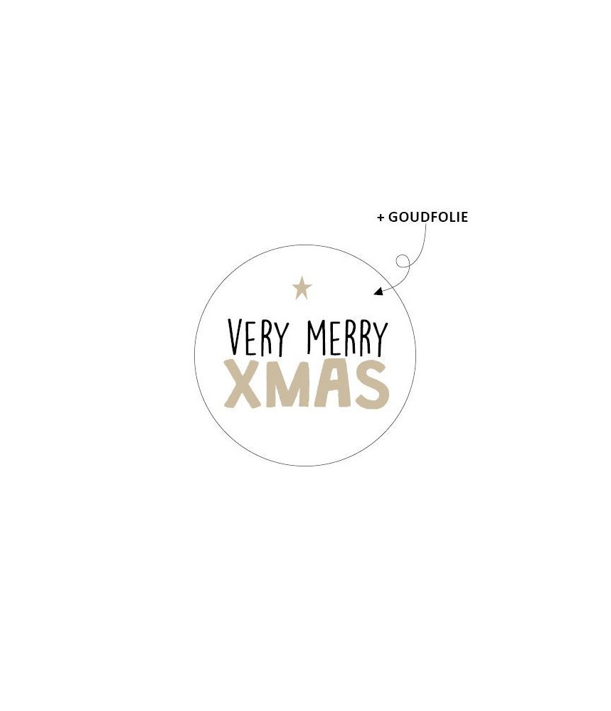 Stickers rond kerst very merry xmas goudfolie