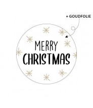 Stickers rond merry christmas sterretjes goudfolie