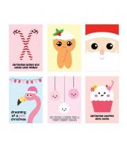 Kerstkaarten set pink christmas 2021