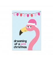 Kerstkaart flamingo pink christmas