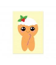Kerstkaart ginger bread kawaii