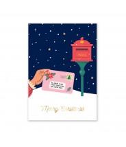 Kerstkaart merry christmas met envelop Little Lefty Lou