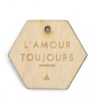 Gifttag hexagon hout - Lamour toujours
