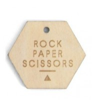 Gifttag hexagon hout - Rock Paper Scissors