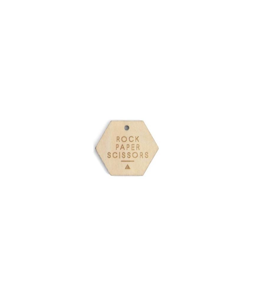 Gifttag hexagon hout - Rock Paper Scissors